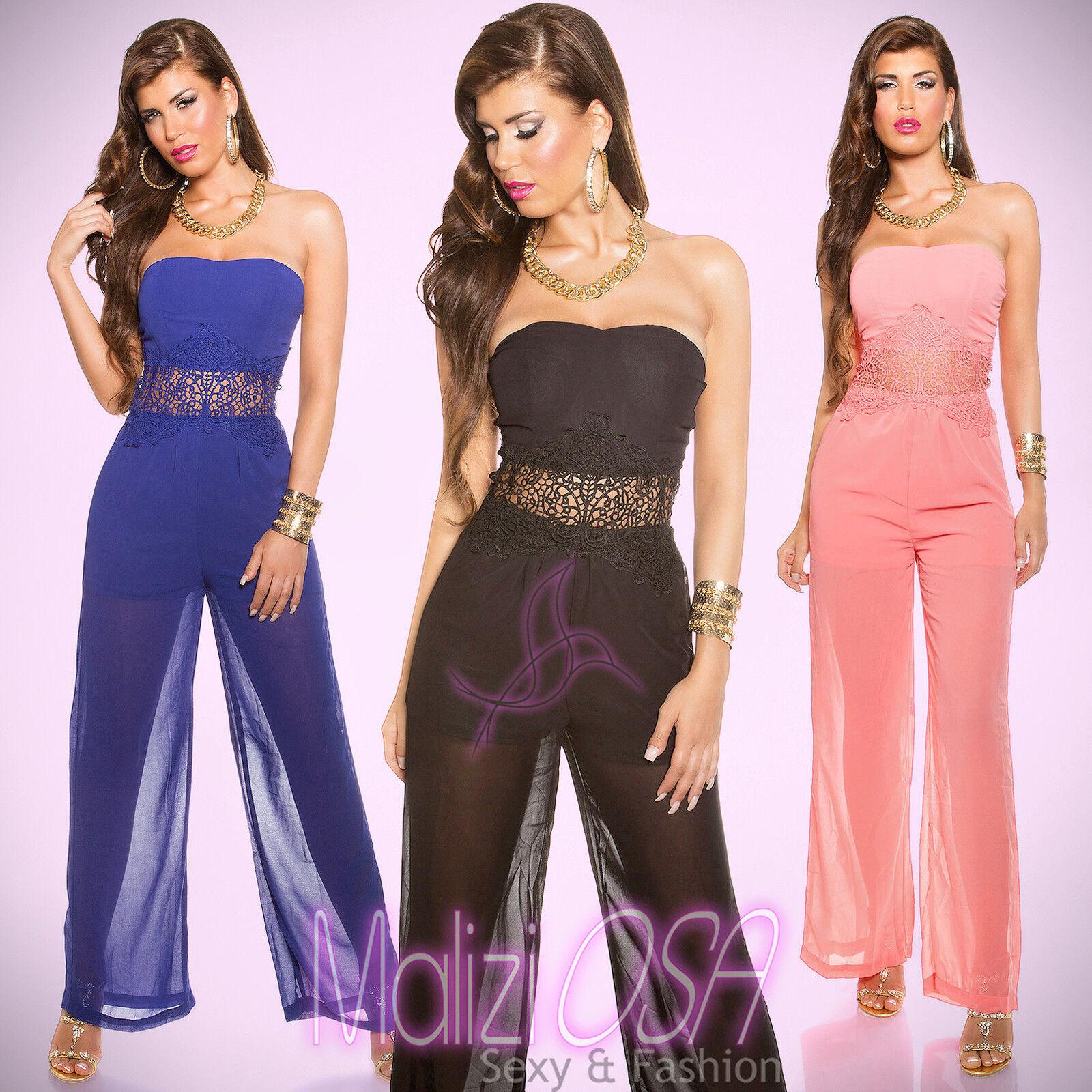 Tuta Elegante donna Overall intera jumpsuit Pizzo Trasparente foderata  MaliziOSA 2ea0a4011e6