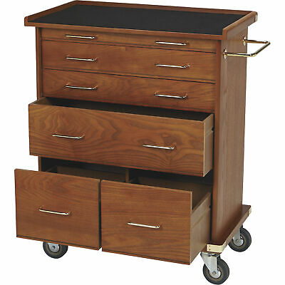 6-drawer Rolling Chest Storage Cabinet Oak Finish 22.75inw X 13.5ind X 28.5inh
