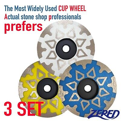 3 Set Of Zered 4 Diamond Grinding Cup Wheel For Granite Quartz Concrete