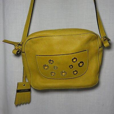 A Bellucci Golden Yellow Gold Italian Leather Shoulder Crossbody Handbag Purse