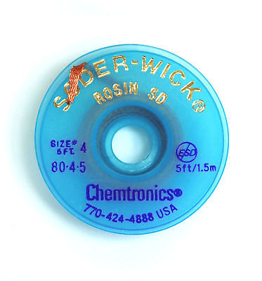 2 Roll 80-4-5 W 2.8mm Chemtronics Desoldering Wick Soder-wick Chemtronics Usa
