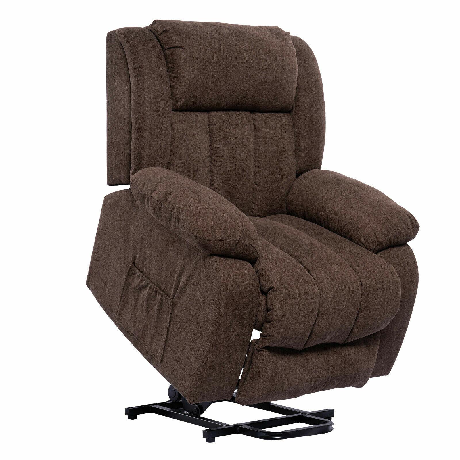 Lift Massage Recliner Chair for Elderly Heated fabric Rocker