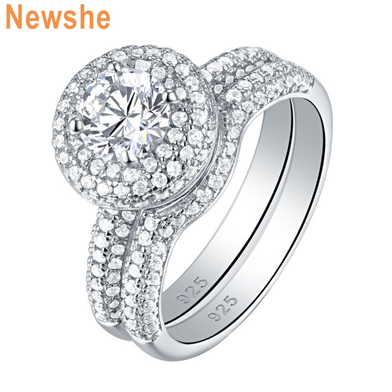 Newshe Wedding Engagement Ring Set 2.9ct 925 Sterling Silver Round White Cz 5-10
