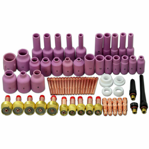 67 Pcs TIG Gas Lens Collet Body Consumables Kit Fit WP 17 18 26 Welding Torch