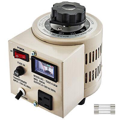 Variac Transformer Variable 500va Ac Voltage Regulator Metered 0-130v 110v