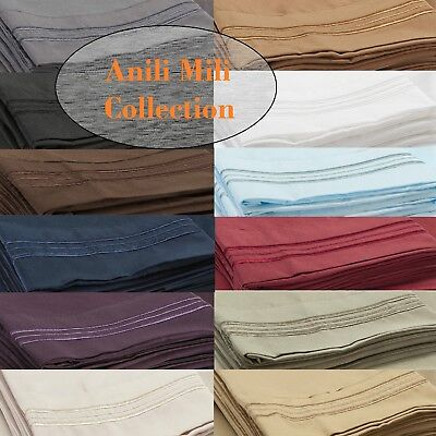 1800 ANILI MILI COLLECTION DEEP POCKET 4 PIECE BED SHEET SET  12 COLORS ALL SIZE