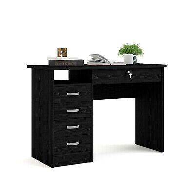 Modern Desk Home Office Furniture Large Writing with Storage 5 Drawer, Black