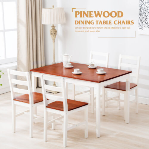 5 Piece Pine Wood Dining Table Set With 4 Chairs Kitchen Dining Room Furniture