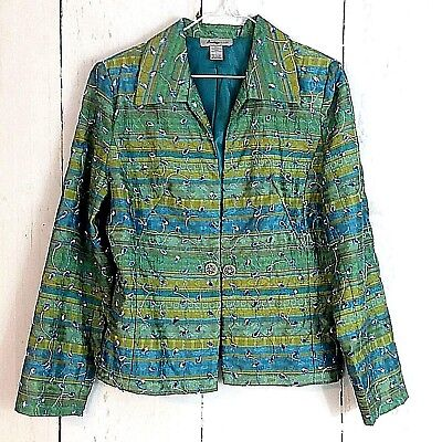 (Womens Jacket sz L Analogy Blazer Peacock Eyelet Embroidered Green Blue Teal )