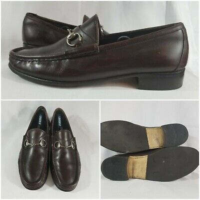 Gucci Brown Leather Silver Horsebit Mens Loafers Shoe Slip On Size 10.5 US