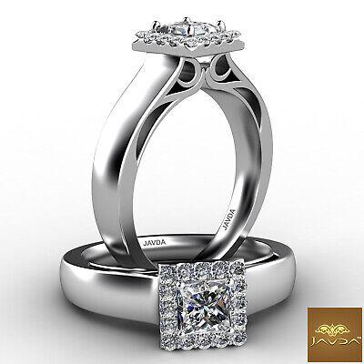 Halo Princess Diamond Engagement Filigree Design Pave Set Ring GIA E VS2 0.7Ct