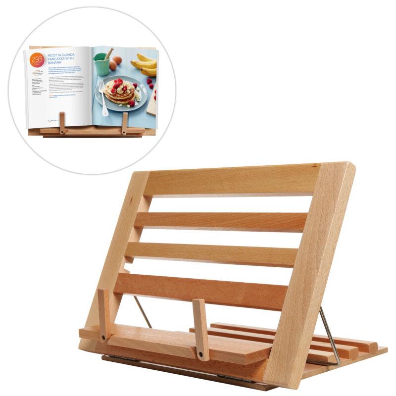 MyGift Folding Alder Wood Cookbook Holder Adjustable Tabletop Display Stand