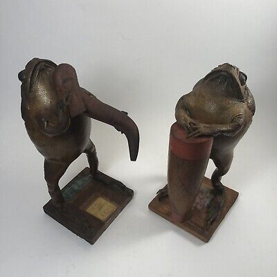 Pair Vintage Taxidermy Frogs Bullfrog Real Playing Bongo And Instrument Mexico