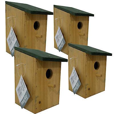 4 x Wooden Nesting Box Traditional Bird Nest House Small Birds Bluetit Robin