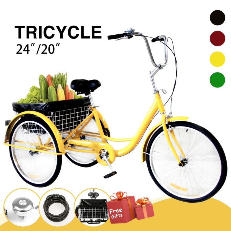 "Adult Tricycle Trike 3-Wheel Bike Cruiser 24""/20"" w/Basket,"
