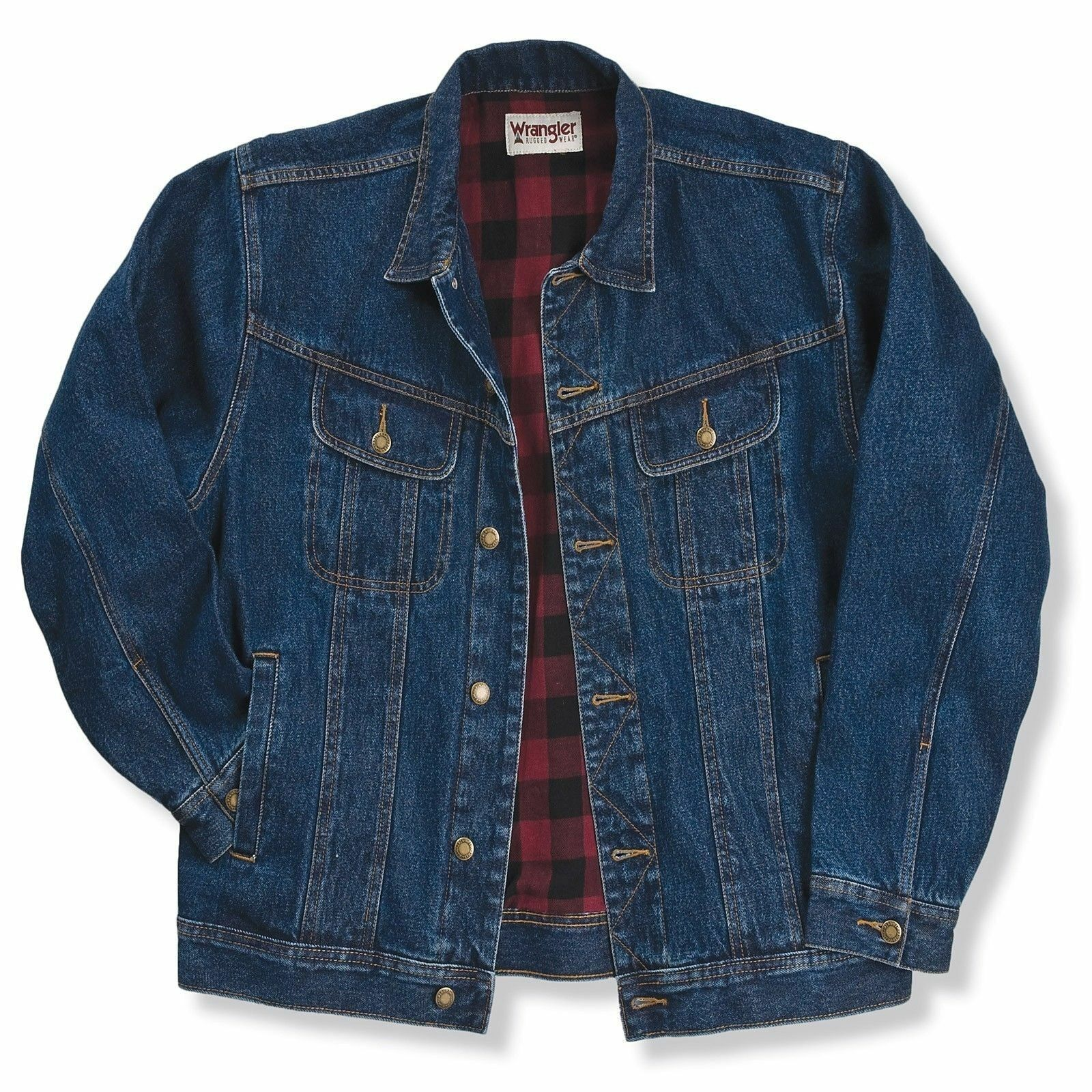 Mens Wrangler Rugged Wear Flannel Lined Denim Jacket Coat All Sizes RJK32AN