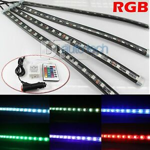 4 x 12 rgb multi color led truck car interior lighting bar remote ebay. Black Bedroom Furniture Sets. Home Design Ideas