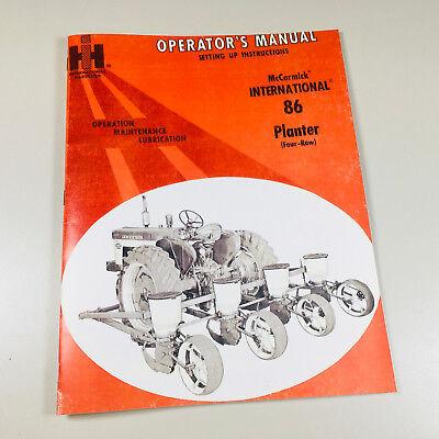 Mccormick International 86 Planter 4 Row Operators Owners Manual