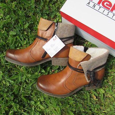 Rieker Sandy  Stiefelette Stiefel Boots Cognac Braun Futter Gr. 40