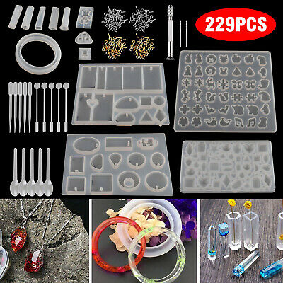 229pcs Resin Casting Silicone Molds Epoxy Spoon Kit Jewelry Making Pendant Craft