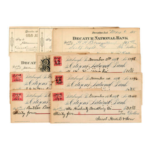 10 mixed types USA bank checks most 1890