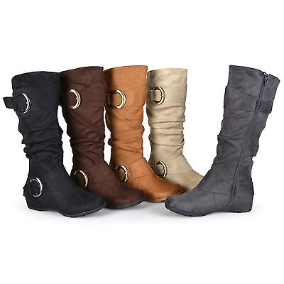- Journee Collection Womens Wide and Extra Wide-Calf Slouch Buckle Knee High Boots