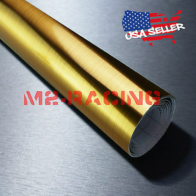 *Chrome Gold Brushed Aluminum Wrap Decal Wallpaper Sticker Self Adhesive 8083H Gold Self Adhesive