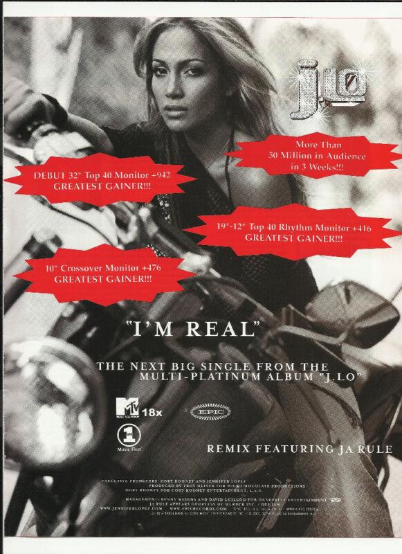JENNIFER LOPEZ I'm Real TRADE AD POSTER for J. Lo 2001 CD MINT