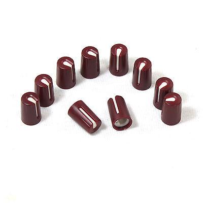 20x Brown Plastic Hi-fi Control Knob Insert Type 10.5mmdx16.5mmh For 6mm D Shaft