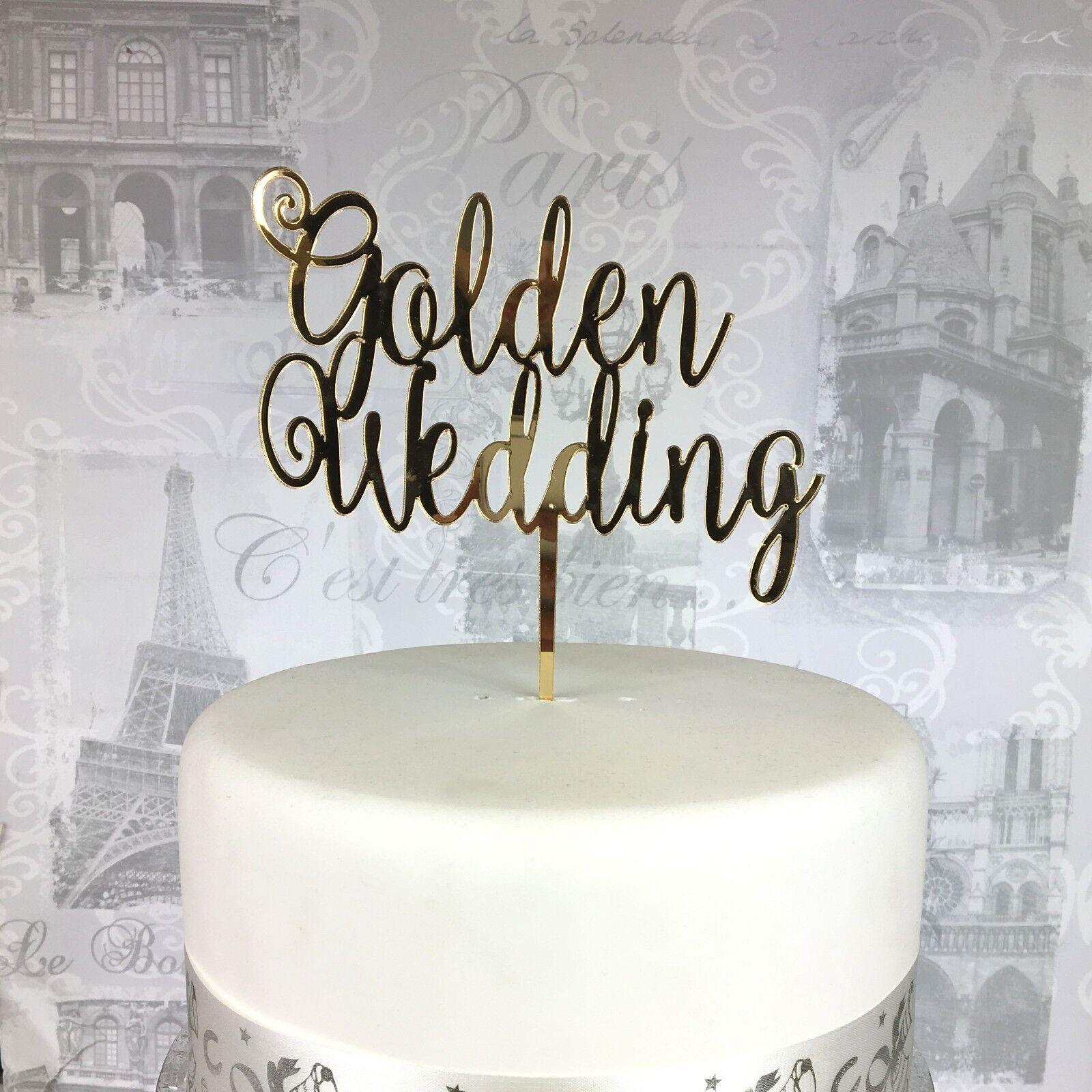Golden Wedding Cake Topper Acrylic 50 Years Cake Topper 19 Colours Uk Made Ebay