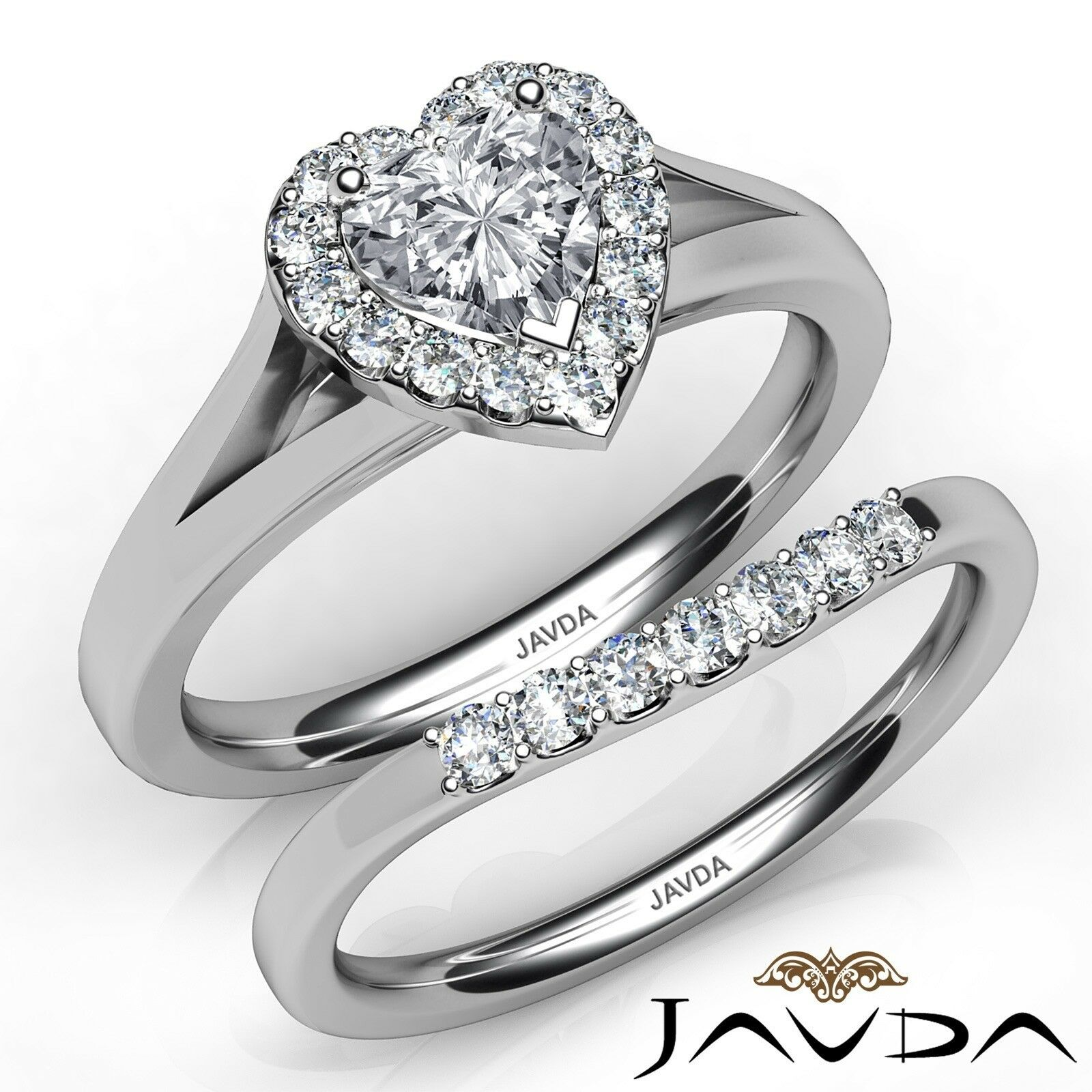 1.32ctw Pave Halo Bridal Set Heart Diamond Engagement Ring GIA F-VS2 White Gold