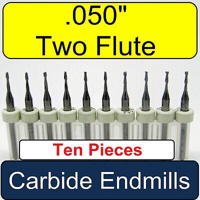 Ten Pcs. .050 Two Flute Carbide End Mills - Square End 18 Shanks - Umt113