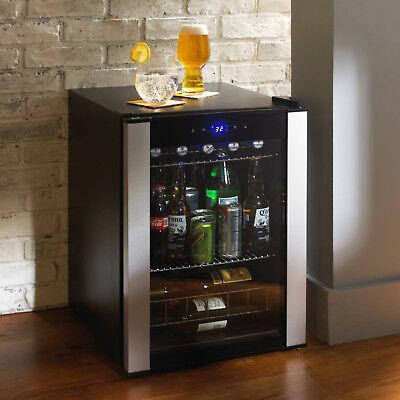 Free-Standing 90-Can Wine Cooler Refrigerator Black Beverage Center Kitchen