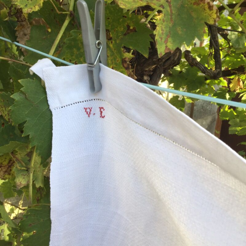 Antique French Initialed VE Torchon Linen Dish Hand Towel Cotton Monogram Large