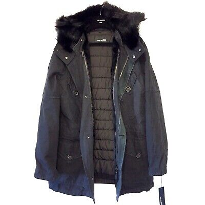 YVES SALOMON Mens Fur Down Army Parka Jacket Coat Black 46 MSRP $3,300