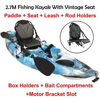 Oct sale 2.7M fishing kayak with paddle and vintage armchair