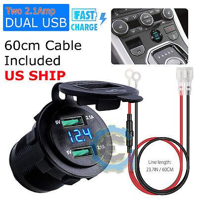 - 12V Dual USB Car Cigarette Lighter Socket Splitter Charger Power Adapter Outlet
