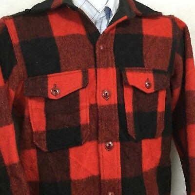 Vtg Woolrich Mackinaw Wool Hunting Field Jacket Sz 14 Tartan Buffalo Plaid USA