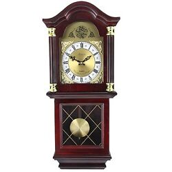 BEDFORD 26MAHOGANY CHERRY OAK FINISH GRANDFATHER WALL CLOCK with PENDULUM&CHIME