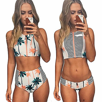 Damen High Neck Bikini Set Push Up Gepolstert Badeanzug Bademode Crop Tops Mode