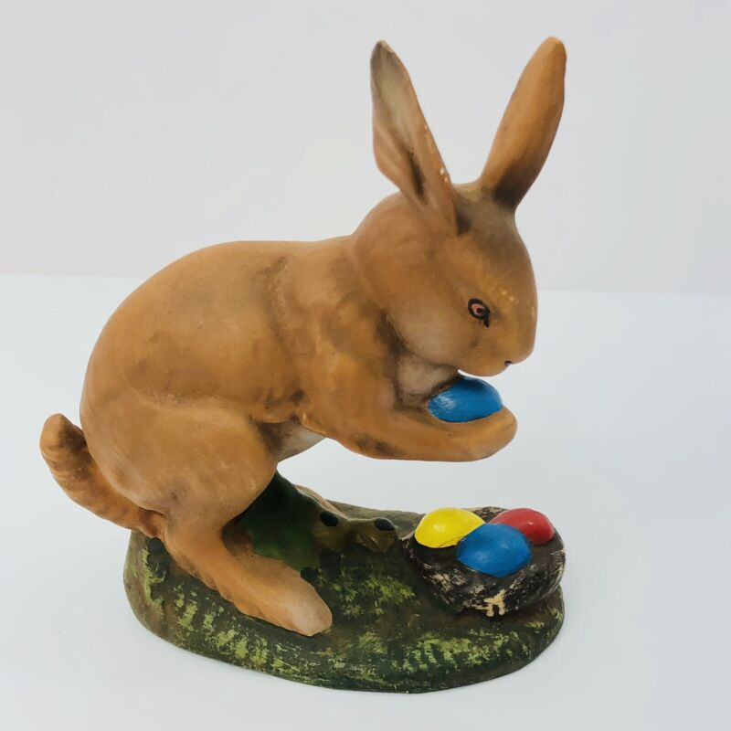 Marolin Easter Bunny Rabbit with Egg Nest Germany Paper Mache 5.5""