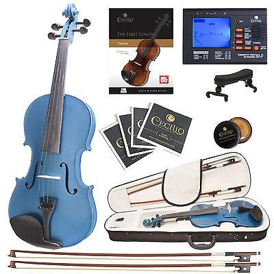 Cecilio 4/4 Ebony Fitted Solidwood Violin Metallic Blue +Tuner+Book/Audio/Video