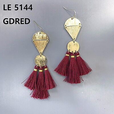 Gold Finish Multi Shapes Burgundy Color Thread Tassel Drop Dangle Hook Earrings