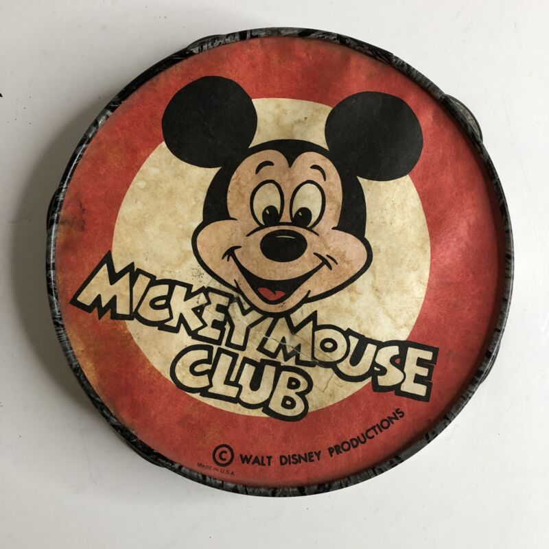 Vintage 1950s Mickey Mouse Club Toy Tambourine Walt Disney Productions