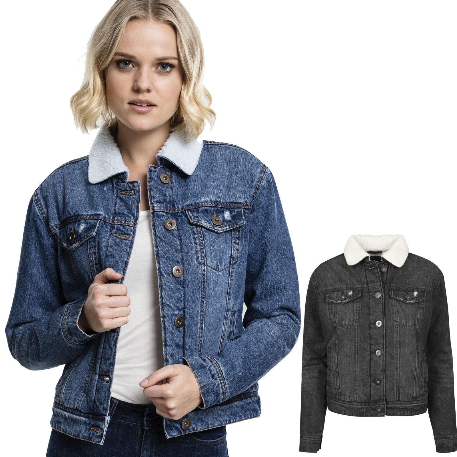 Details zu Urban Classics Damen Sherpa Denim Jeans Jacke Jeansjacke Fellkragen Fell Frauen