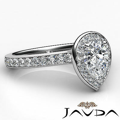 Cathedral Halo Pave Set Pear Cut Diamond Engagement Ring GIA Color F VS1 1.17Ct 2