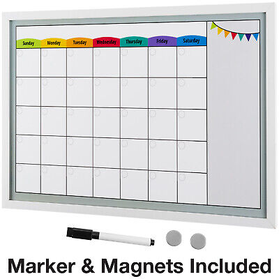 Framed Magnetic Calendar Whiteboard 24x16 With Dry Erase Marker 2 Magnets