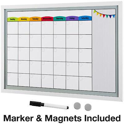 Framed Magnetic Calendar Whiteboard 24x16 With Dry Erase Marker 2 Magnets