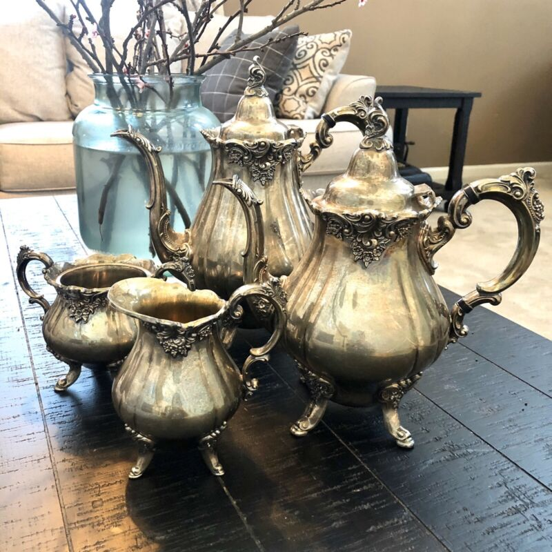 4 Pc. Antique Wallace Tea & Coffee Baroque by Wallace