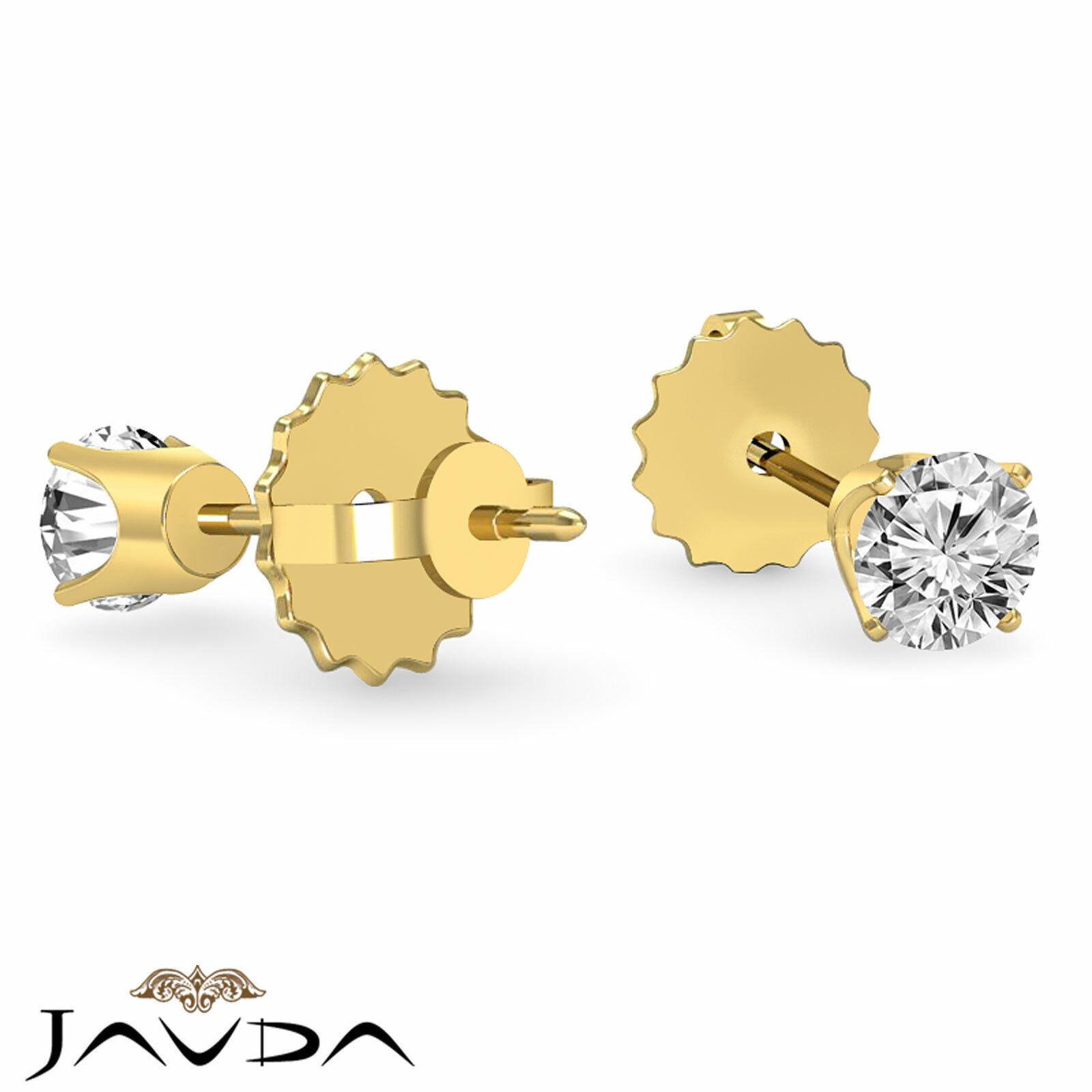 Round Cut Diamond 1 Pair Women's Stud Earring Solid Gold Jewelry 0.46 ctw. 3